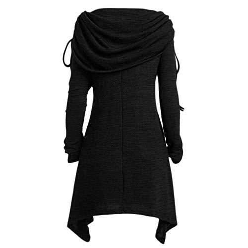 TianranRT Frauen Kleiden,Neue Winter/Mode Kragen Kragen/Freizeit Unregelmäßigen Langen Ärmeln/Eine Schulter Länge/Santa Claus Muster/Warme Jacke(Schwarz,3XL) -