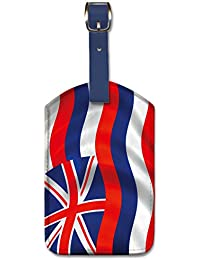 Waving in Wind USA Flag Pacifica Island Art Leatherette Luggage Baggage Tag