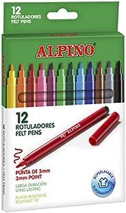 Rotuladores Alpino Coloring para niños - Estuche de 12 Colores con Punta Fina 3mm - Tinta Lavable - Perfecto p