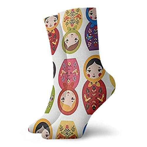 Wfispiy Russian Matryoshka Nesting Dolls Bright Men Women Novelty Funny Crazy Crew Sock Printed Sport Athletic Socks 30cm Long Personalized Gift Socks