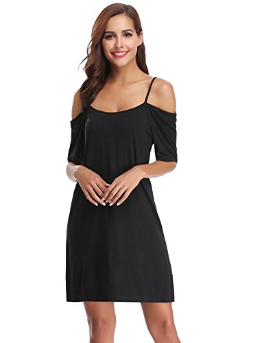 Abollria Damen Sommer Kleid Casuale Ärmellose Shirtkleider Spaghetti Strap Knielang Strandkleid Cut-out-kleid Womens