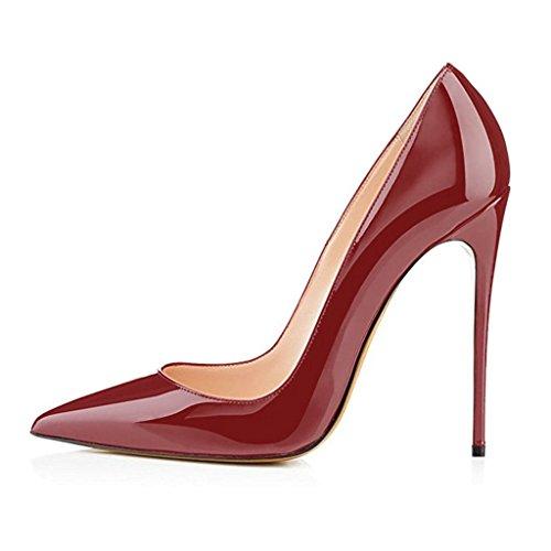 EDEFS Damen Stilettos High Heels Damenschuhe Übergröße Spitze Zehen Pumps Burgundy