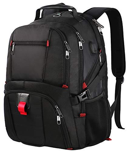 Laptop-Rucksack, Extra große College-Schule Rucksack für Männer und Frauen mit USB-Ladeanschluss, TSA freundlich wasserdicht Big Business Computer-Rucksack-Tasche Fit 17-Zoll-Laptops Notebook, schwarz