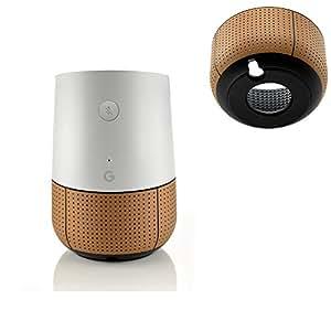 elecguru Hülle für sprachgesteuerten Google-Assistent, runder Boden, aus ABS-Kunststoff mit Lederüberzug, für Google Home, Magnetischer Boden, Originalton braun