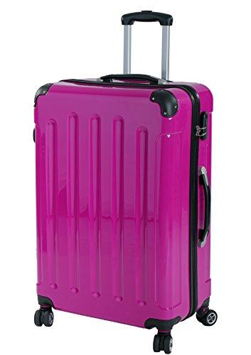 P-Collection Koffer Trolley Reisekoffer Hartschalenkoffer Handgepäck M-L-XL 3er/4er Set Zwillingsrollen 8 Farben (XL, pink)