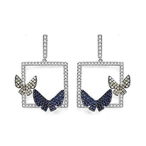 URBAN SHe° Midnight Blue Yellow Boucles d'Oreilles 'Butterfly On the Window' Boucles d'oreilles Diamante Crystal Large Cube Square
