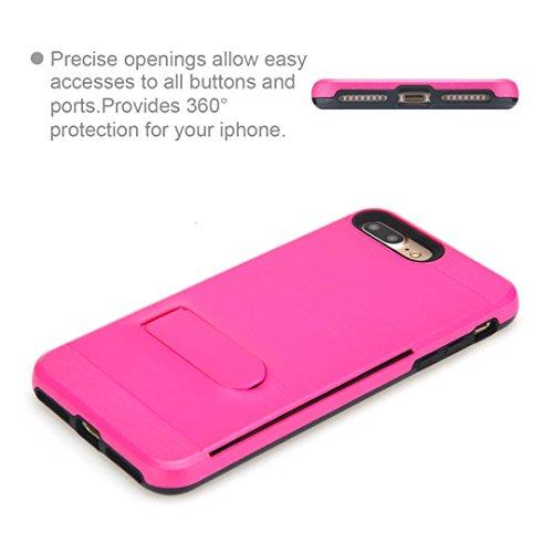 """iPhone 7 Plus Coque,Lantier Multifonctionnel Fashion brossé Metal Design Slim Fit Dual Layer robuste Cover Defender avec Béquille et fente pour carte pour iPhone 7 Plus 5.5"""" Rose vif Hot Pink"""