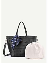Premium Scarf Decorated Cut Out Shoulder Bag & Drawstring Bag