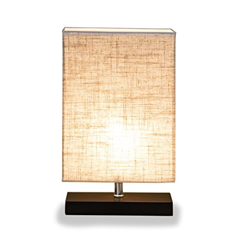 ZEEFO Simple Table Lamp, Retro Solid Wood And Fabric Shade Style Relax  Lighting For Bedroom Bedside Desk Lamp, Contemporary Living Room, Study ,  Baby Room ...
