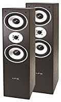 LTC Multicav 3-Way Stand Speaker Boxes 500 Watt PMPO, Bass Reflex Subwoofer, Pair) Black