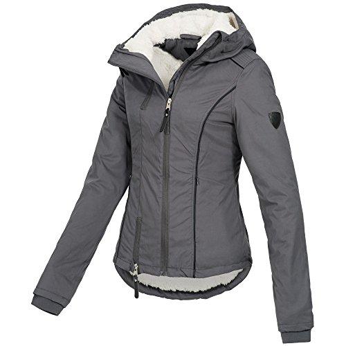 Ausnahme-Zustand Azuonda Damen Winterjacke Parka Jacke warm Teddyfell Kapuze XS-XL AZ25, Farbe:Grau, Größe:XS / 34 - 3