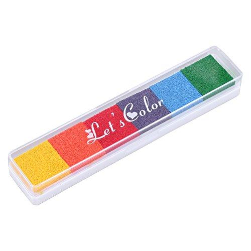 Demiawaking 6 Colori Tamponi per Timbri Inkpad delle Impronte Digitali DIY Craft Scrapbooking Tampone di Inchiostro Colorato Timbro Decorativo (04)