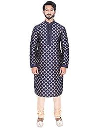 Manyavar Men's Blue Full Sleeve Regular Fit Self-Designed Kurta & Churidar Set