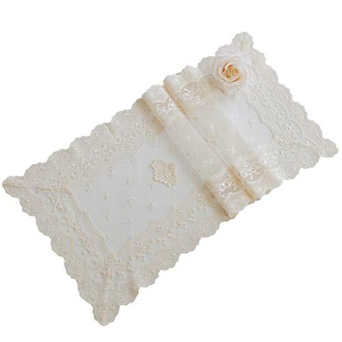 Gestickte Crochet Lace (HAIYING Tischläufer Handarbeit Crochet Lace Rechteckige Hochzeit Startseite Gestickte Spitze Tischläufer Und Schals Weiß (größe : 190 * 32cm))