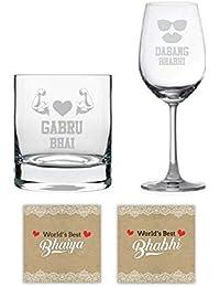 Yaya Cafe Anniversary Gifts for Brother and Bhabhi Combo, Gabru Bhai Dabang Bhabhi Wine and Whiskey Glasses, Coasters Set of 4