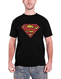 DC Comics Superman T Shirt Mens Vintage Shield Crackle Logo Official Mens Black
