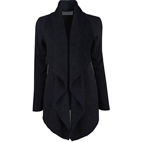 WTUS Femme Pull Large à Revers En Manteau Revers Nouveau 2017 Gris