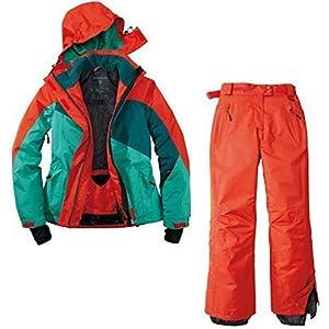Crivit Damen Skianzug Schneeanzug Skijacke Skihose 2 Teilig Rot Grün Wasserabweisend