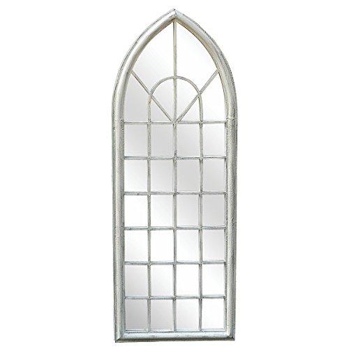 Charles Bentley Gartenspiegel/Spiegelfenster - Fensterbogen - Shabby Chic-Deko für Garten - Weiß