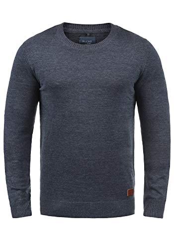 Blend Lars Herren Strickpullover Feinstrick Pullover Mit Rundhals Und Melierung, Größe:3XL, Farbe:Ensign Blue (70260)