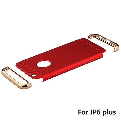 """xhorizon 3 en 1 Anti-rayures Anti-empreinte Digitale Antichoc Boîtier Cadre électroplaqué avec Surface Antidérapante avec Revêtement Mat pour iPhone 6 Plus/6S Plus[5.5""""] rouge"""