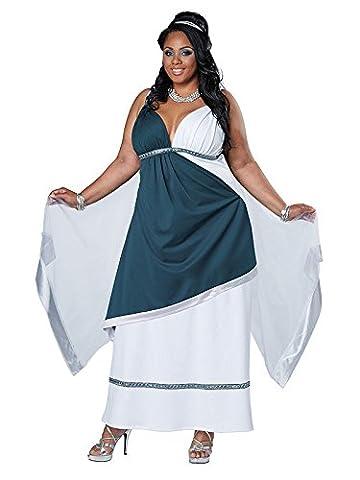 Edle Römerin Griechin Damenkostüm Antike XL weiss-blau XXL (Griechische Göttin Kopfschmuck Kostüm)
