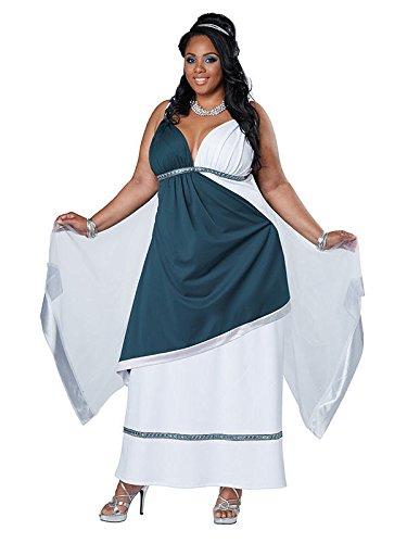 Kostüm Griechische Schmuck (Edle Römerin Griechin Damenkostüm Antike XL weiss-blau)