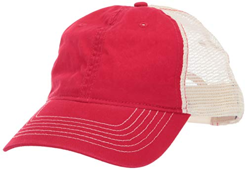 UltraClubs Herren ULTC-8114-Cut Washed Brushed Cotton Twill Trucker Cap, rot/Stone, One Size Washed Cotton Twill Cap