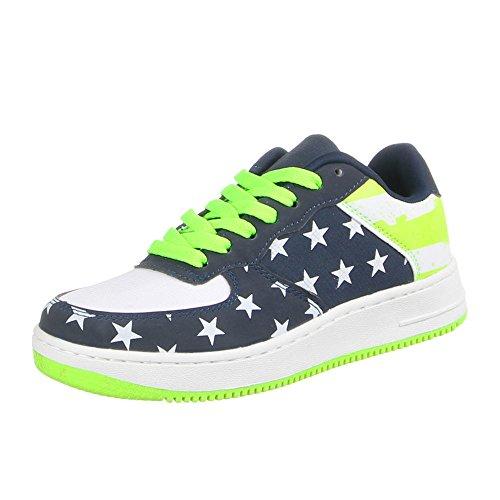 Damen Schuhe Freizeitschuhe Sportschuhe Stars Deko Boots Sneakers Low Top Ital-Design Grün Blau