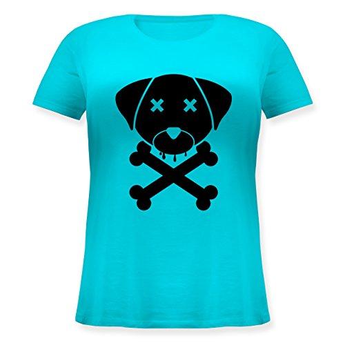 Hunde - Hund Skull - Lockeres Damen-Shirt in großen Größen mit Rundhalsausschnitt Türkis