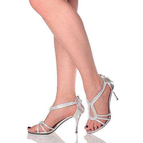 Femmes talon haut lanières salomé strass mariage fête soir sandales pointure Argent