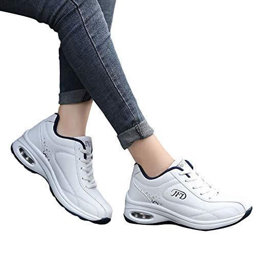 OSYARD Damen Schnürer Sneaker Laufschuhe Fitnessschuhe Rutschfeste Freizeitschuhe, Frauen Freizeit Leder Shoes Schuhe Atmungsaktive Lace-Up Sportschuh Flache Leicht Turnschuhe(235/38, Weiß)