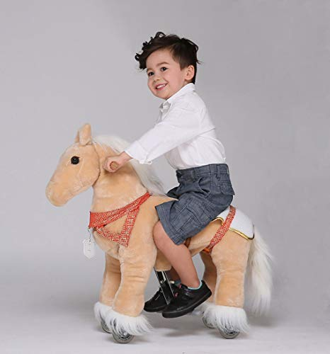 UFREE Horse Great Gift for Children Action Pony Toy, Ride on for kids aged 3 to 6 (Light Brown withBraid)