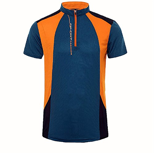 Sommer M?nner atmungsaktives Dri Fit Top Shirt Laufen Radfahren Jersey Kurzarm Deep Blue XL (Kurzarm-pj Top)