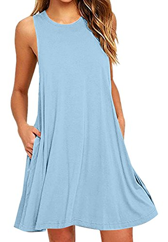 OMZIN Damen Strandkleid Übergröße Ärmellos Shirtkleid mit Taschen Rundhals Vestkleid Weiß XXXL