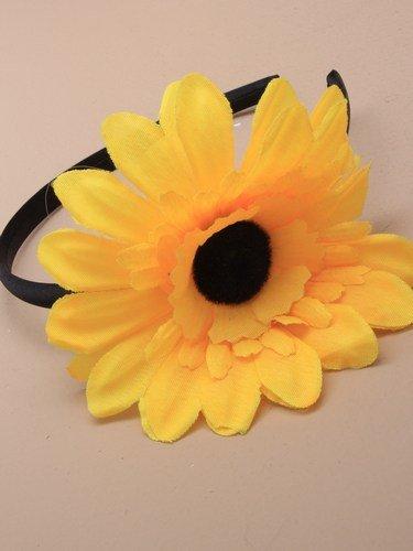 Stirnband, mit großer Sonnenblume aus Seide, für Partys, Einheitsgröße, Gelb