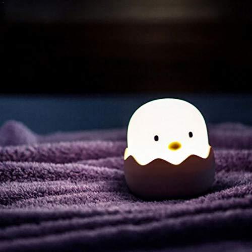 SOOKi Chicas Creativas Luces para Dormir Dibujos Animados Silicona UAB Carga Cáscara Huevo Pollo Luces Emocionales Vaso Luz De Noche Junto,White