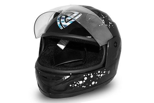Helm Kinderhelm Fullface Integralhelm Motorradhelm Full Face Helmet Schwarz (S)