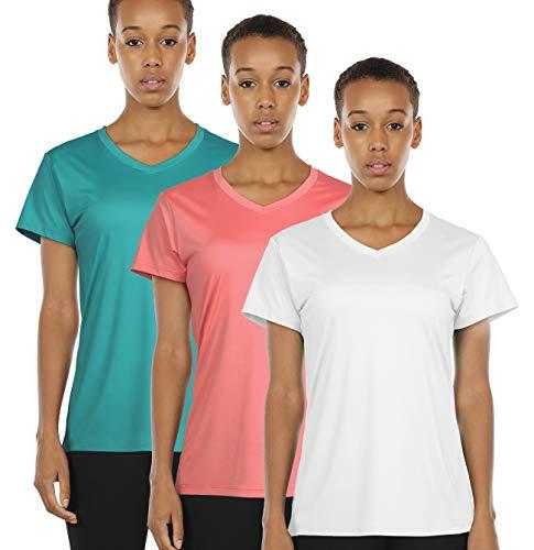 icyzone Damen Sport Fitness T-Shirt Kurzarm V-Ausschnitt Laufshirt Shortsleeve Yoga Top 3er Pack (M, Off White/Peacock Green/Coral)