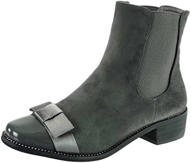 Angkorly - damen Schuhe Stiefeletten - Chelsea Boots - Reitstiefel Kavalier - Strass - fliege - Patent Blockabsatzö