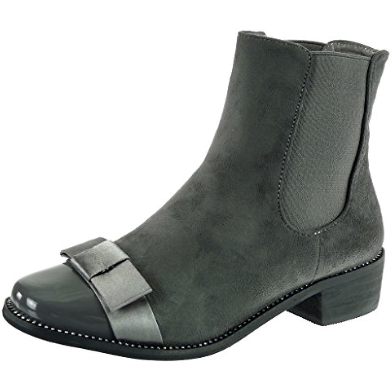 Angkorly - Chaussure Mode cavalier Bottine chelsea boots cavalier Mode Femme strass diamant noeud papillon verni Talon bloc... - B0767L6XGX - d431b6