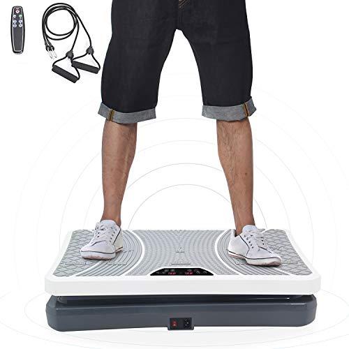 ISE Plateforme Vibrante pour Musculation et Perte de Poids, télécommande et Bandes élastiques (SY-8008WH)