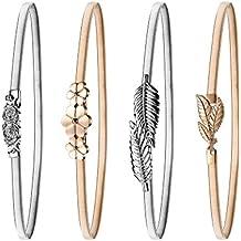 4 Piezas de Cinturón Elástico de Mujeres Cinturón de Hoja y Rosas Florales de Metal Cinturón