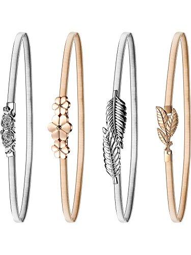 4 Stück Damen Elastische Taille Gürtel Strecken Metall Blatt und Rosen Floral Gürtel Gold Silber Kleid Gürtel Hüftgurt Ineinandergreifende Verschluss 27,56 x 0,315 Zoll (Farbe Set 2) (Damen Metall)