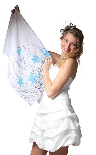 ROBLORA, châle en mousseline, étole, écharpe pour robe de soirée, de différentes couleurs, taille 35 x 170 cm Bleu-fleur