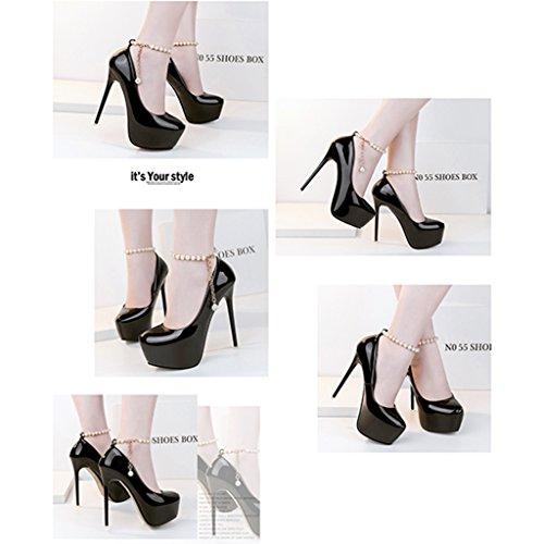 Hwf Femmes Chaussures Princesse Mode Mince Talons Hauts Talons 14 Cm Sexy Nightclub Femmes Perles Unique Simple Pour Femmes Chaussures (couleur: Violet, Taille: 37) Noir