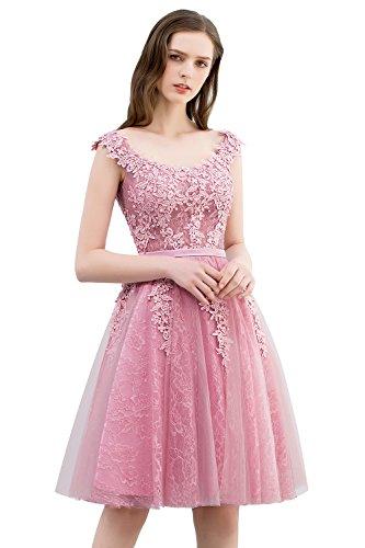 Damen Altrosa Perlstickerei Spitze Brautkleid Hochzeitskleid Standesamt Applique Tüll Knielang 46