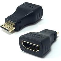 Mini HDMI macho a HDMI hembra Adaptadore Alta Velocidad Conectore para Canon EOS 550d / Nikon D5100 / D5200 / D5300 / D800 / D810 / D90 / Fujifilm / Nvidia Shield Cámaras o Videocámaras Digitales, Reproductores MP3 a Monitor de Computadora, Pantallas LCD TV HD TV, Videoproyector Soporta Señal de Video de Audio HDMI 1080p 4K 3D