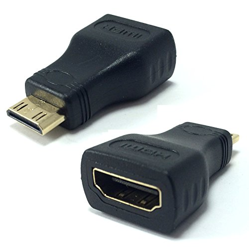 Hc-plug (Mini HDMI zu HDMI Adapter konverter Kompatibel mit Canon EOS 550d / Nikon D5100 / D5200 / D5300 / D800 / D810 / D90 / Fujifilm / Nvidia Shield Plug Stecker Buchse KleineStecker auf HDMI)
