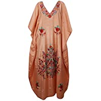 Mogul Interior Women Maxi Caftan Dress Peach Silk Embroidered Kimono Kaftan One Size
